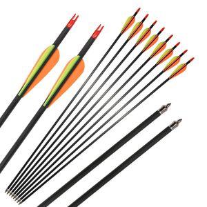 Bogenschießen 31 '' Kohlefaser Welle Pfeile Spine 400 für Compound Recurve Bogen mit Field Points Jagd Schießen im Freien