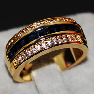 2018 New Arrival Fashion Jewelry Handmade 10KT Yellow Gold Filled Princess Cut Blue Sapphire Party CZ Diamond Men Wedding Band Finger Ring