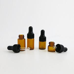 100 x 1 ml de calidad superior 2 ml 3 ml Mini lindo ámbar Botellas gotero de vidrio pequeños frascos Perfumes de aceites esenciales Botellas portátiles pequeñas Viales