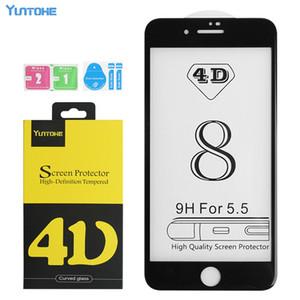 De calidad superior 4D 5D 9H pantalla completa templado Protector de cristal resistente a los arañazos Dureza protectores para el iPhone Cine X 8 7 6 6S Plus con el paquete