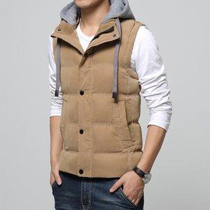 Kış Kapüşonlu Yelek Erkek Sıcak Kolsuz Ceket Homme Rahat Yelekler Yelekler Erkekler Pamuk-Yastıklı Kaliteli Tops