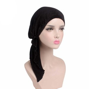 Новый мусульманский длинный складчатый шарф Strech Spandex Skull Chemo тюрбан Головные уборы Шапочка с капюшоном Wrap Hat У больных раком