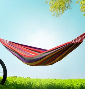 Singolo portatile di alta qualità da giardino all'aperto amaca Hang Bed Travel Camping Altalena Canvas Stripe 2 COLORI