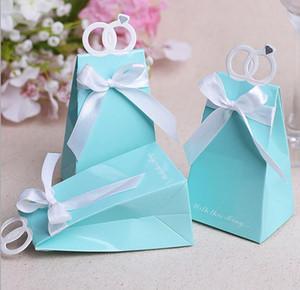 Kişiselleştirilmiş Yüzükler Düğün Parti Iyilik Kutusu Aşk Kuş Tatlılar Şeker Choclate Kutuları Hediyeler Mevcut Wrap Çanta ile yay Tiffany Mavi