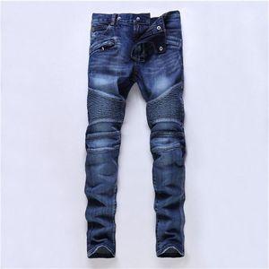 Die Jeans der neuen Entwerfer-Männer dünne Hosen beiläufige Luxuxjeans-Mann-Art und Weise beunruhigte zerrissene dünne Motorrad Moto Radfahrer-Denim-Hip Hop-Hosen