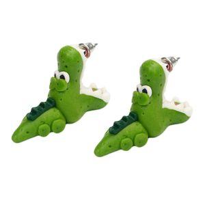 1 Pair Handmade Polymer Clay Crocodile Dinosaur Stud Earring For Women Animal Earrings Jewelry Fashion Girl Earring Gifts