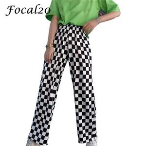 Focal20 уличная плед женщин брюки эластичный пояс полная длина клетчатый черный и белый случайные свободные прямые брюки