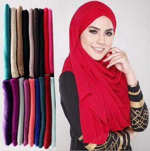 78 цветов мусульманских женщин хиджаб шарфы 2018 продажа высокого качества сплошной цвет этническая Жемчужина шифон пузырь шарф 12 шт.