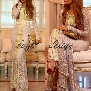Марокканский кафтан с полным кружевом с длинными рукавами вечерние вечерние платья 2018 на заказ сделать золотую вышивку кафтан дубай абая арабское платье выпускного вечера