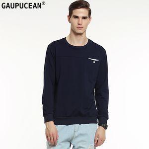 Echte Gaupucean Mann Baumwolle Hohe Qualität O-Ausschnitt Solid Navy Blau Grau Weiß Rundhalsausschnitt Casual Pocket Langarm Männer Sweatshirt