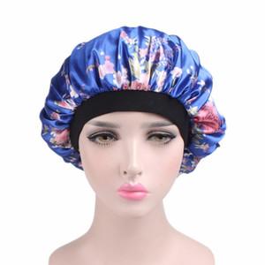 Frauen Chemo Cap Beflockung Satin Schlafen Hut Drucken Floral Soft Night Sleep Hut Salon Motorhaube Hut Haarschmuck