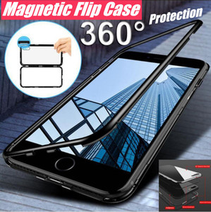 Manyetik Adsorpsiyon Telefon Kılıfı Metal Çerçeve + Temperli Cam Arka Kapak Için iPhone Xs 8 7 Artı Samsung Not 9 s9 s8 artı