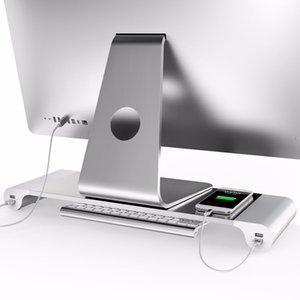 Freeshipping Aluminium 4 Ports USB Laptop Computer Monitor Halter Halterung Speichern Raum Erhöhen Stand Für PC Computer Für Apple + UNS EU Stecker