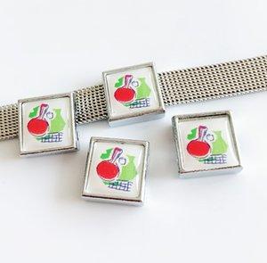10 pcs 8 MM Plástico Pingpong Impressão de Plástico Encantos Beads DIY Acessórios Fit 8mm Cintos de Colarinho Pulseiras