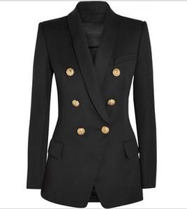 Новые С этикетки Марка B верхнего качества Оригинальный дизайн женщин двубортный Тонкий куртка металла Пряжки Blazer ретро воротником Outwear