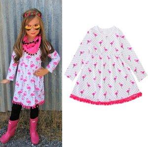 새로운 아기 소녀 드레스 만화 플라밍고 인쇄 공주 드레스 봄 가을 패션 키즈 드레스 부티크 유아 의류 아이 옷