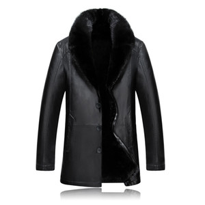 new fashion Winter Fur coat Man Thick Leather Mink Hair Collar Jacket Casual Single Breasted mens high quality plus size M-4XL