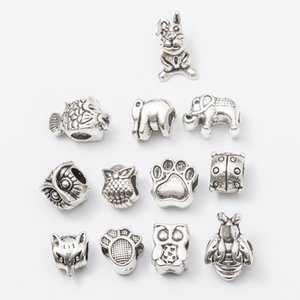 Mix 10 Styles Beads OWL Antique Silver Plated Alloy Big Hole Spacer Beads fit pandora bracelet DIY Jewelry Necklaces & Pendants charms