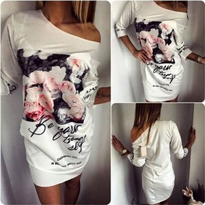 Moda elbiseler için bayan mektubu çiçek desenli baskı artı boyutu kadın yaz casual club elbiseler gevşek kadın giyim mini dress