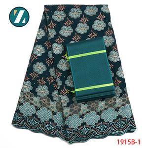 African Lace Fabric für die Hochzeit 2018 bestickt Africa Cotton Fabrics African Schöne Schweizer Voilespitze Hinzufügen Aso Oke PGC1915B-1