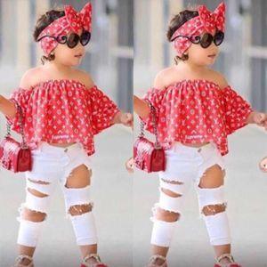 Çocuklar Yaz Kız Giyim Setleri Kapalı Omuz Üst Gömlek + Delik Pantolon + Hairband Kız Giysileri set Çocuk Giysileri