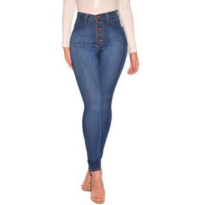 2020 nuevas mujeres forman talle alto flaco Denim Jeans estiramiento delgados pantalones vaqueros ocasionales pantorrilla ropa de las mujeres de la gota libre