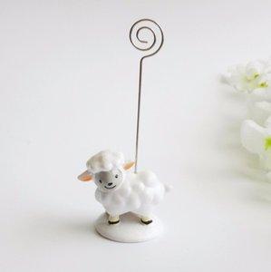 Precioso bebé oveja lugar titular de la tarjeta Precioso resina mensaje clip de nota Cumpleaños y boda decoración favores
