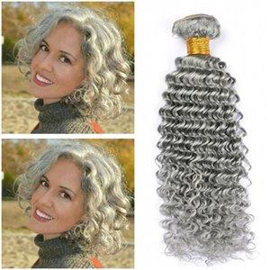 """Virgin Бразильская Silver Gray Human Bundle волос Предложения 3шт Deep Wave Чистый серый цвет человеческих волос ткет Волнистые Двойные утками Extensions 10-30"""""""