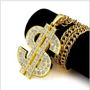 달러 펜던트 목걸이 남성용 골드 목걸이 다이아몬드가있는 패션 쥬얼리 남성용 힙합 쇠사슬 락 랩 골드 목걸이