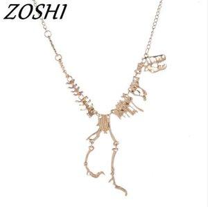 Neue Modeschmuck Gothic Tyrannosaurus Rex Skeleton Dinosaurier Anhänger Halskette Gold Silber Kette Choker Halskette Für Frauen