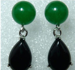 Free Shipping fine handmade green jades black natural stone stud earrings