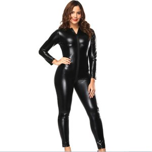 Schwarze Frauen Zip To Crotch Langarm Catsuits Shiny PVC Vinyl Leder Bodys Voll Body Spielanzug Wetlook Overalls Zentai