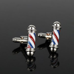dongsheng Tie Series ClipsCufflink Barber Shop Barber Pole Abotoaduras Homens camisa Cuff botões abotoaduras de jóias New Acessórios