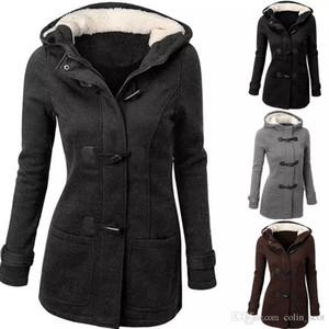 Herbst Winter Schlank Wollmantel Frauen Schwarz Grau Zipper Up Fleece Parkas Frauen Hoodies Jacke Wollmantel Parka Femme dames jassen
