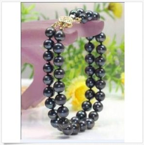 NEW 2 ROW 9-10 MM NATURAL black SOUTH SEA PEARL BRACELET 14K 7.5-8''
