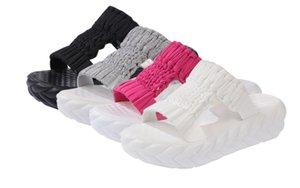 NEW Wool knitting Slippers Sandals Women Slides Roman Fish Mouth Platform Sandals Female Heeled Footwear Open Toe Wedge Shoes