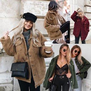 Women Button Pocket Thick Coats Casual Lapel Fluffy Fleece Fur Warm Winter Outerwear Jackets