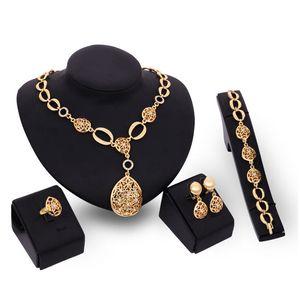 Pulseiras brincos colares anéis de moda jóias Define Mulheres de ouro 18K oco Out Water Drop 4 peças de jóias set casamento