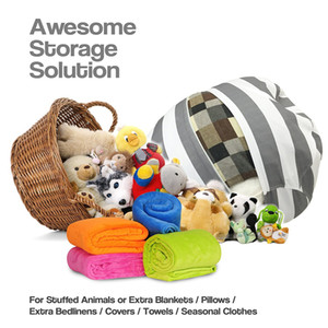 Stripe Bean Bag 18 inch Chair Kids Bedroom Stuffed Animal Dolls Organizer Plush Toys Bags Baby Play Mat Portable Clothes Storage Bag LC669