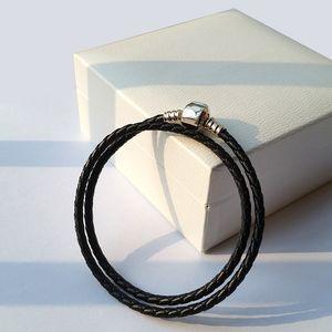 Mode Femmes 925 Sterling Argent Véritable Noir Double Couche En Cuir Bracelet Fit Pandora Charmes Perles Bijoux Hommes Hommes Bracelet Bracelet