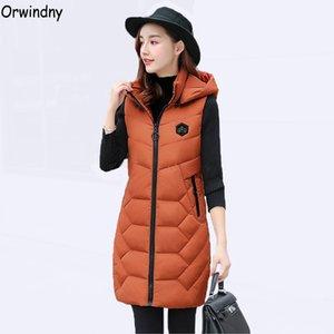 Orwindny 2018 Slim Casual Giù Cotton Vest Women Winter Cotton Gilet Capispalla Hooded Long Gilet Femminile Addensare Warm Gilet