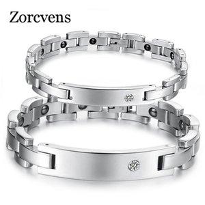 ZORCVENS 2018 New Lovers Magnetic Health Bracelets Bracelets En Acier Inoxydable 316L Cubic Zirconia Bracelet Pour Femmes Hommes