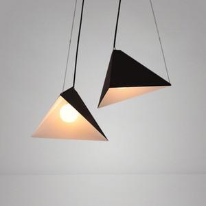 Modern Pingente de Luz Nordic led hanglamp preto branco triângulo cone ferro luminária quarto lâmpada de cabeceira luminária luminárias droplights