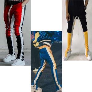 2018 Nova Cor Medo De Deus Quinta Coleção faixa calças calabasas zíper lateral calça de moletom casual homens hiphop corredores calças.