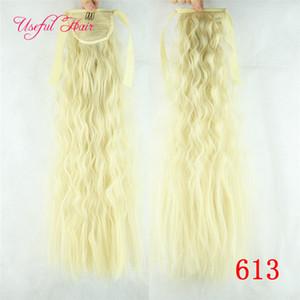 Afly Kinky Hair sintético Afly Kinky Hair Hairpieces Cordón cola de caballo peine cola de caballo rizado cabello rubio clip de extensión en extensiones de cabello