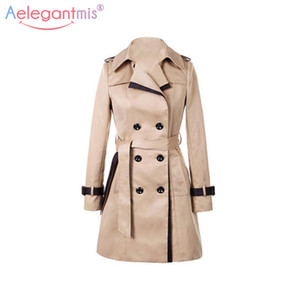 Aelegantmis 2018 Otoño Mujeres Doble Breasted Largo Trench Coat Khaki Con Cinturón Classic Casual Office Office Lady Business Outwear Otoño