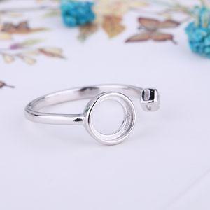 Стерлингового серебра 925 обручальное кольцо обручальное 7x7mm круглый кабошон Semi Mount кольцо Кристалл ювелирных изделий установка белого золота цвет