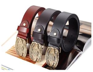 Cinture in pelle da uomo Moda Coccinelle in metallo Vintage Fibbie in rame 3 colori Cowskin Wide Belt 105 - 115cm