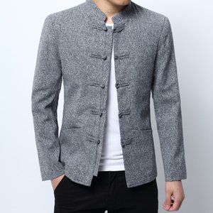 2018 new fashion casual men's Tang suit solid color long-sleeved collar button buckle Chinese style suit jacket