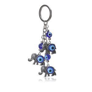 1 pc Azul Olho do Mal Encantos Chaveiro Elefante Pendent Chaveiro Liga Borla Car Chave Da Cadeia de Moda Presentes da Jóia